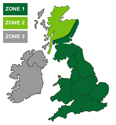 UK Postage Zones Map